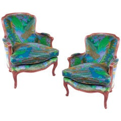 Pair Mid-Century French Armchairs in pop art upholstery