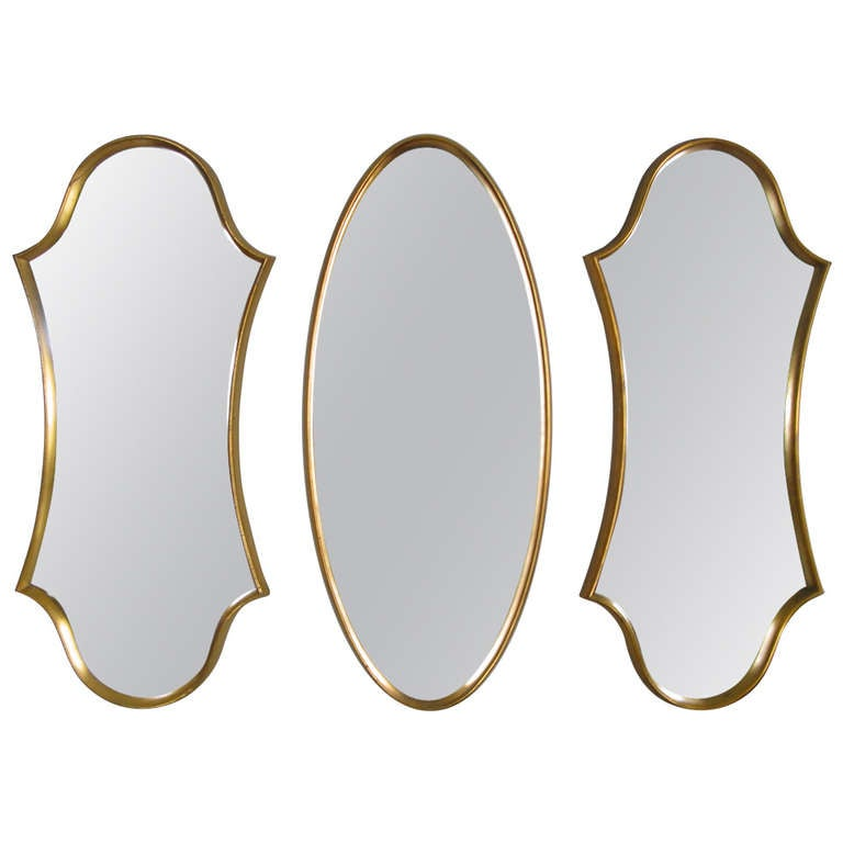 sculptural gold leaf mirrors by labarge at 1stdibs