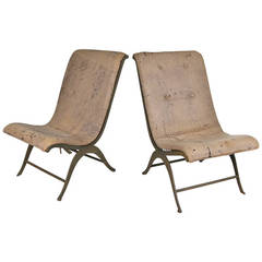 Pair of Curved Iron and Leather Slipper Chairs