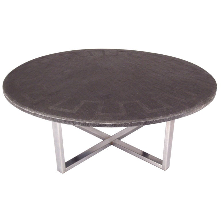 Slate Coffee Table Canada: Vintage Slate Cocktail Table With Greek Key Design At 1stdibs
