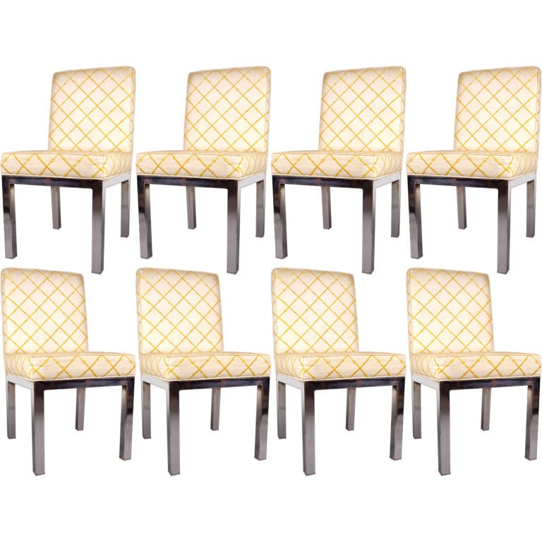 set of 8 vintage chrome parson 39 s dining chairs at 1stdibs
