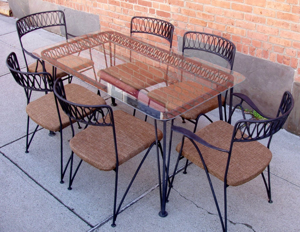 Vintage Iron Dining Table and set of Six Chairs by  : 879112916108055 from www.1stdibs.com size 1024 x 792 jpeg 212kB