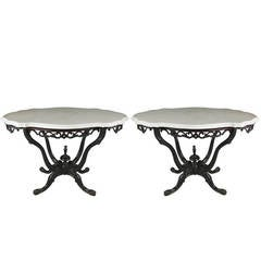 Pair of 19th Century Anglo-Indian Marble-Top Tables