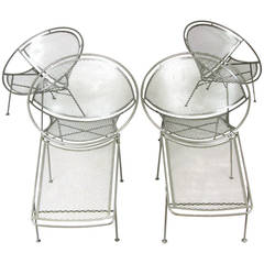 Set of Four Vintage Salterini Radar Collection Lounge Chairs and Ottomans