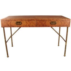 Burled Elm and Brass Bamboo Desk