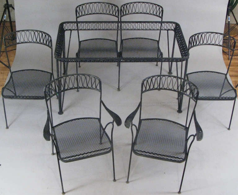 1950 39 s wrought iron dining set with six chairs by salterini at 1stdibs