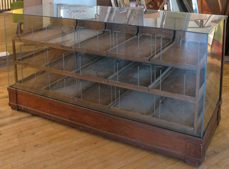 Antique Oak & Glass Haberdashery Display Cabinet 2 - Antique Oak And Glass Haberdashery Display Cabinet At 1stdibs