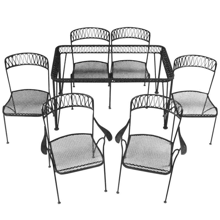 Iron Dining Set: 1950's Wrought Iron Dining Set With Six Chairs By