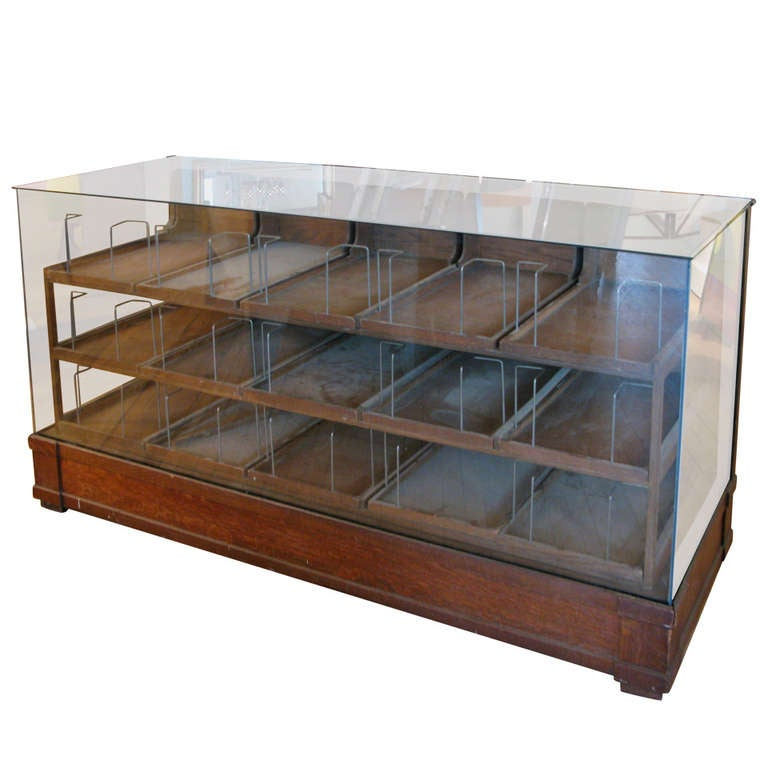 Antique Oak & Glass Haberdashery Display Cabinet 1 - Antique Oak And Glass Haberdashery Display Cabinet At 1stdibs