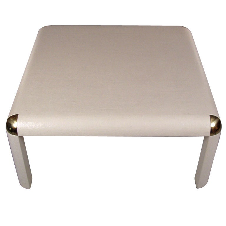 Vintage Brass And Linen Wrapped Cocktail Table At 1stdibs