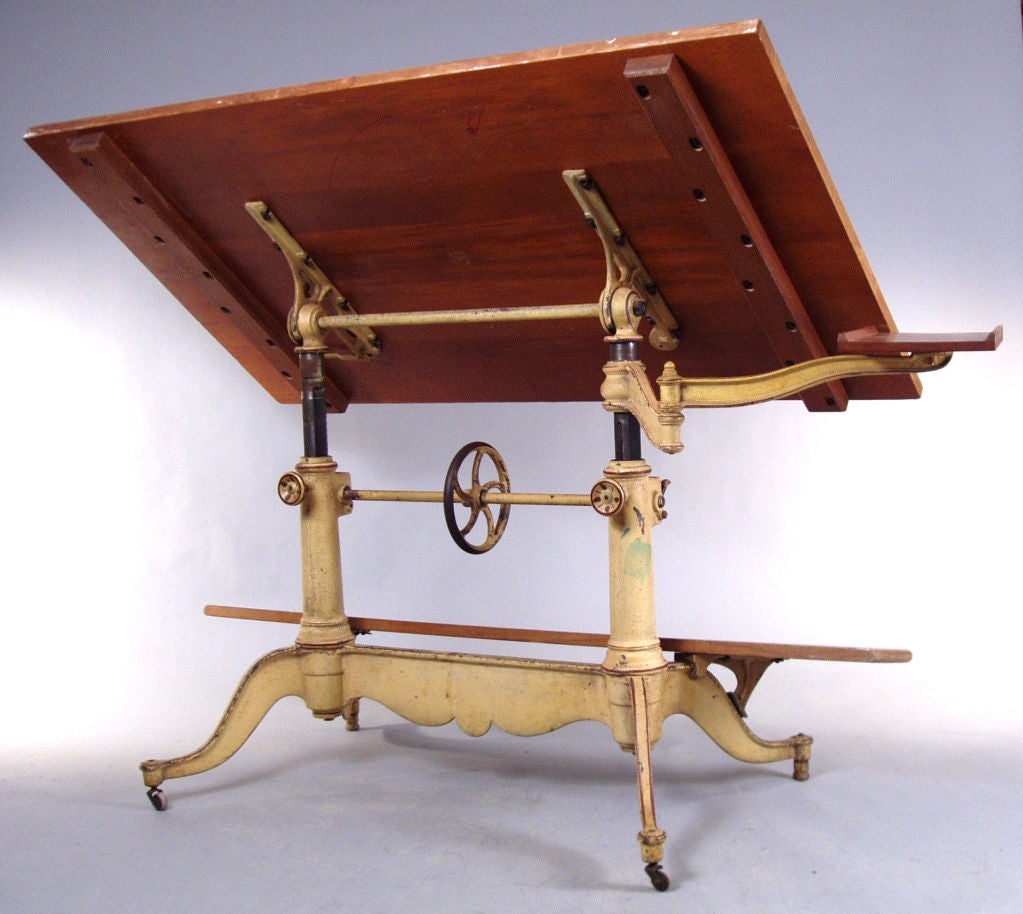 Exceptional Antique Cast Iron Drafting Table By Keuffel And Esser At 1stdibs