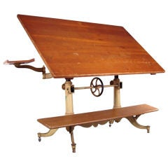Exceptional Antique Cast Iron Drafting Table by Keuffel & Esser