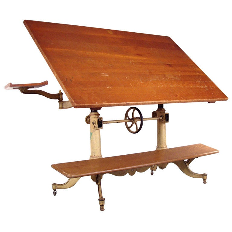 Exceptional Antique Cast Iron Drafting Table By Keuffel