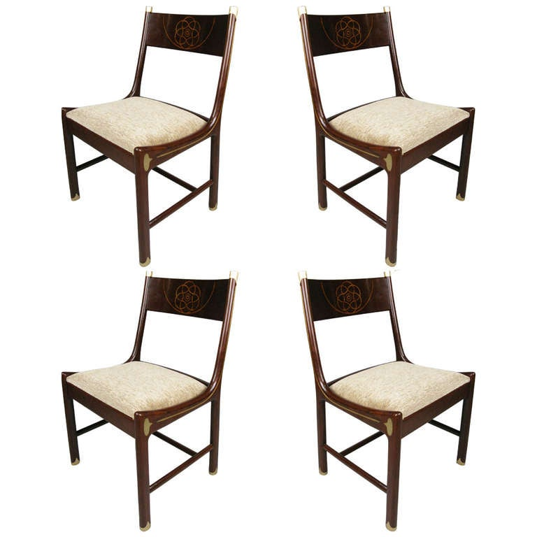 rare set of four rosewood and brass chairs by ib kofod