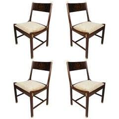 Rare set of Four Rosewood & Brass Chairs by IB Kofod Larsen