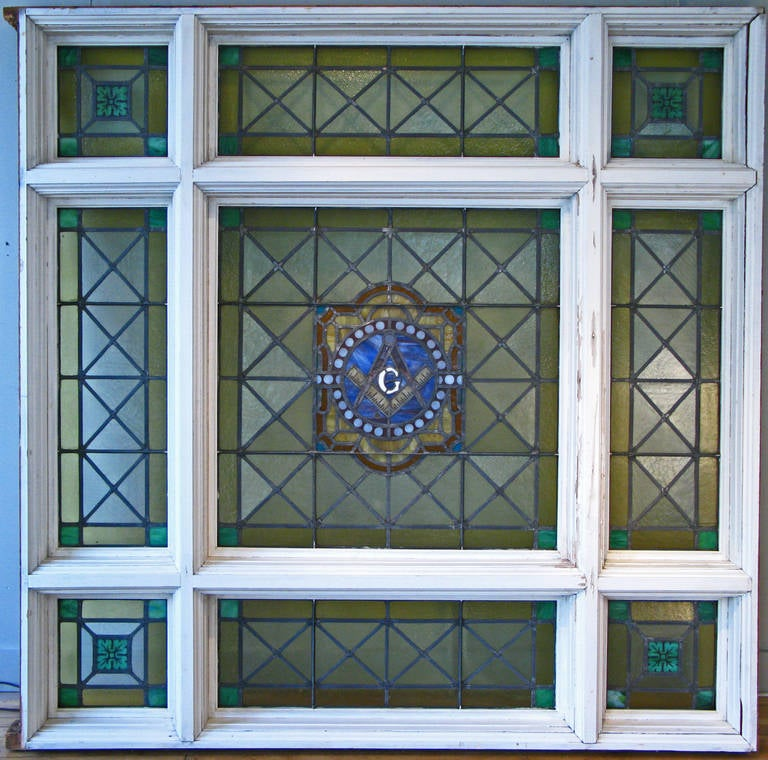 Transom Windows A Useful Design Element: Antique Stained Glass Masonic Lodge Window At 1stdibs