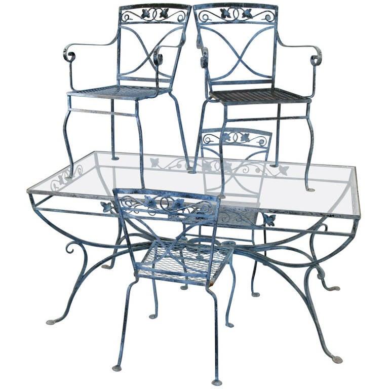 Elegant vintage wrought iron garden dining set by salterini - Wrought iron indoor decor classy elegance ...
