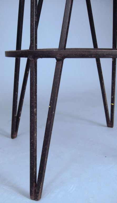 Set Of Four Iron Swivel Barstools By Frederick Weinberg At