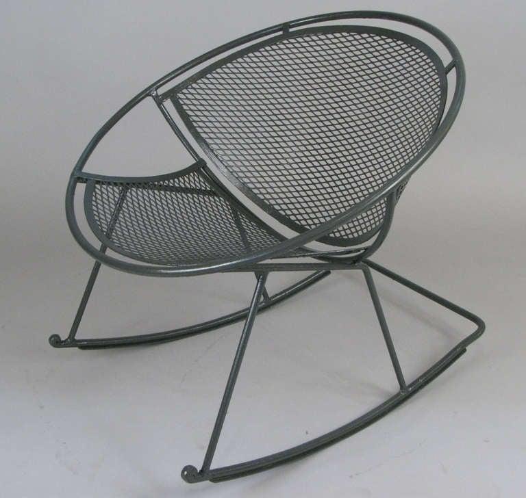 Rare Salterini Radar Wrought Iron Rocking Chair at 1stdibs