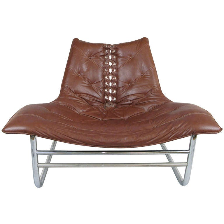 Modern Chrome Laced and Tufted Lounge Chair at 1stdibs