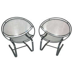 Pair of Vintage Salterini 'Radar' Spring Base Lounge Chairs