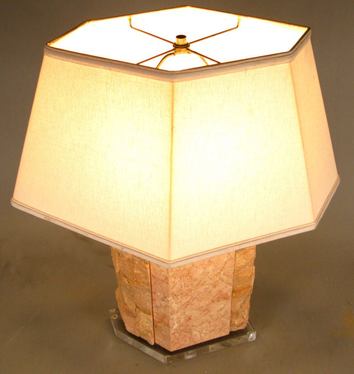 Marble & Lucite Table Lamp by Bauer Lamp Co. In Good Condition For Sale In Hudson, NY