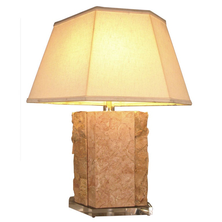 Marble & Lucite Table Lamp by Bauer Lamp Co. For Sale