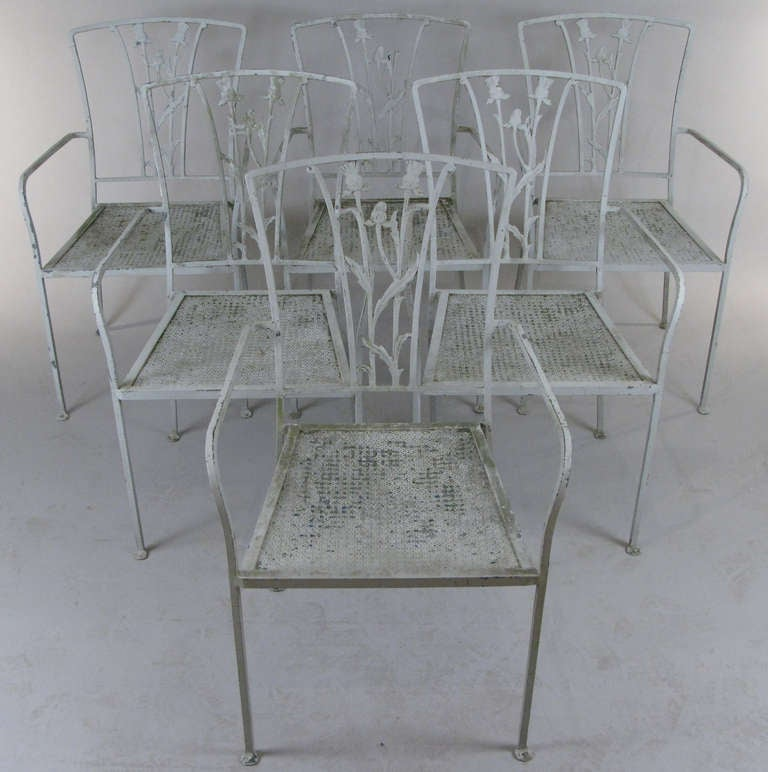 Vintage Iron Seashell And Seahorse Dining Table And Chairs