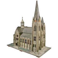 Handcrafted 19th Century Church Model