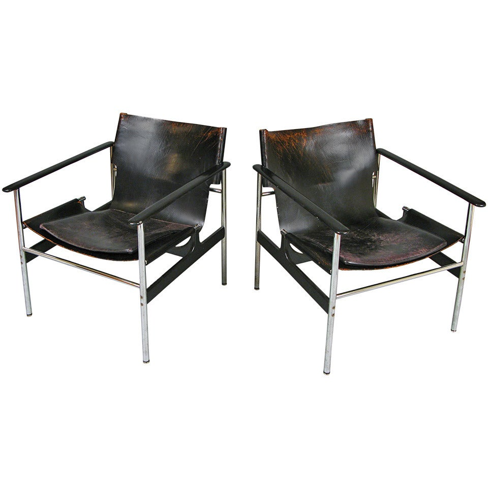 vintage chrome and leather lounge chairs by charles pollock for knoll . vintage chrome and leather lounge chairs by charles pollock for