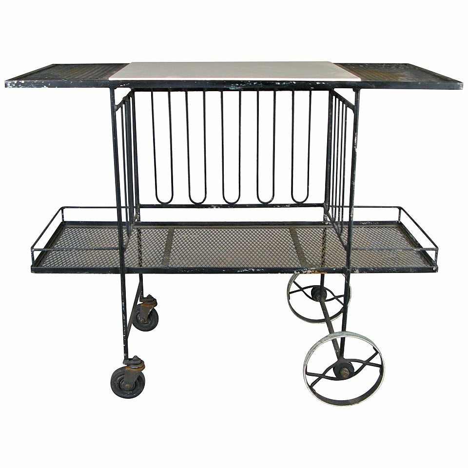 1950s Wrought Iron And Glass Bar Cart At 1stdibs