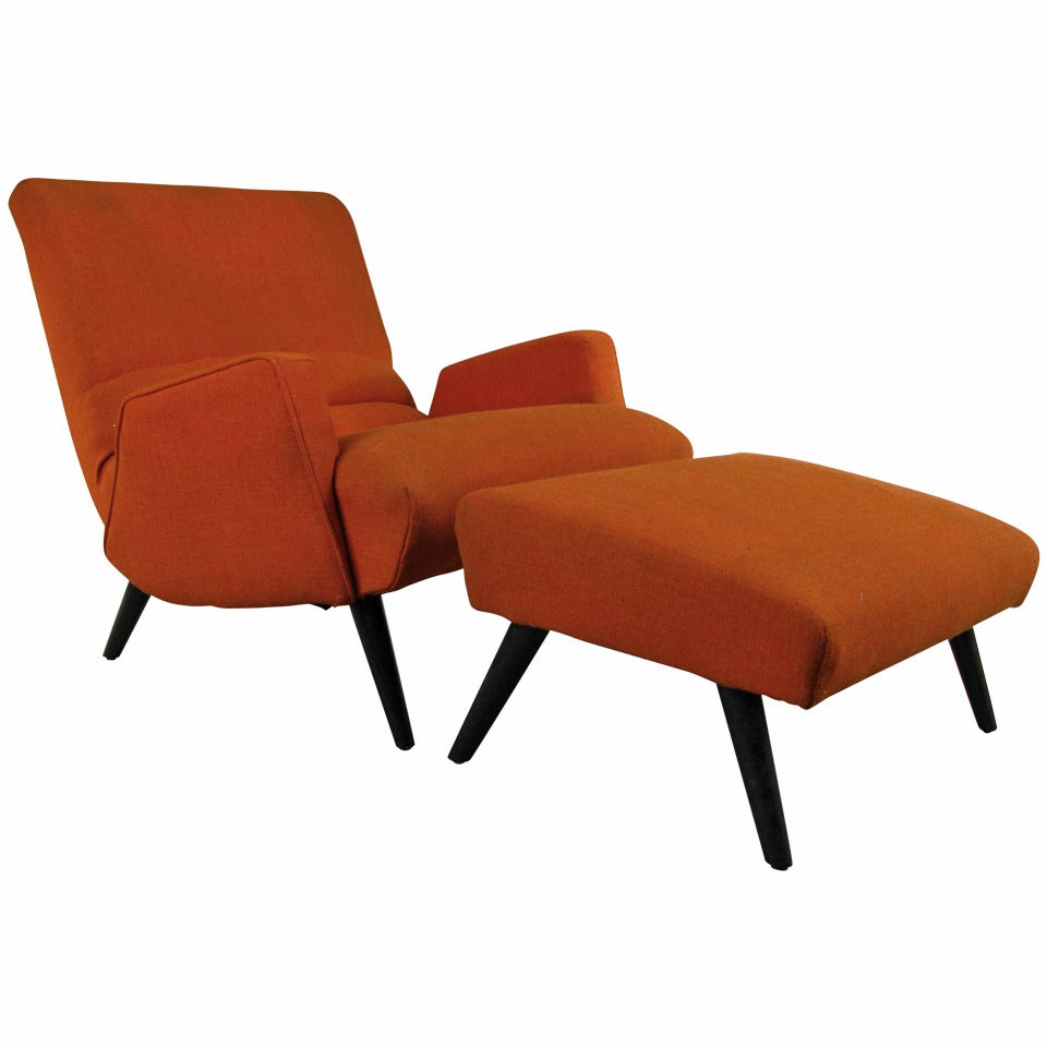 1950s Italian Modern Lounge Chair And Ottoman At 1stdibs