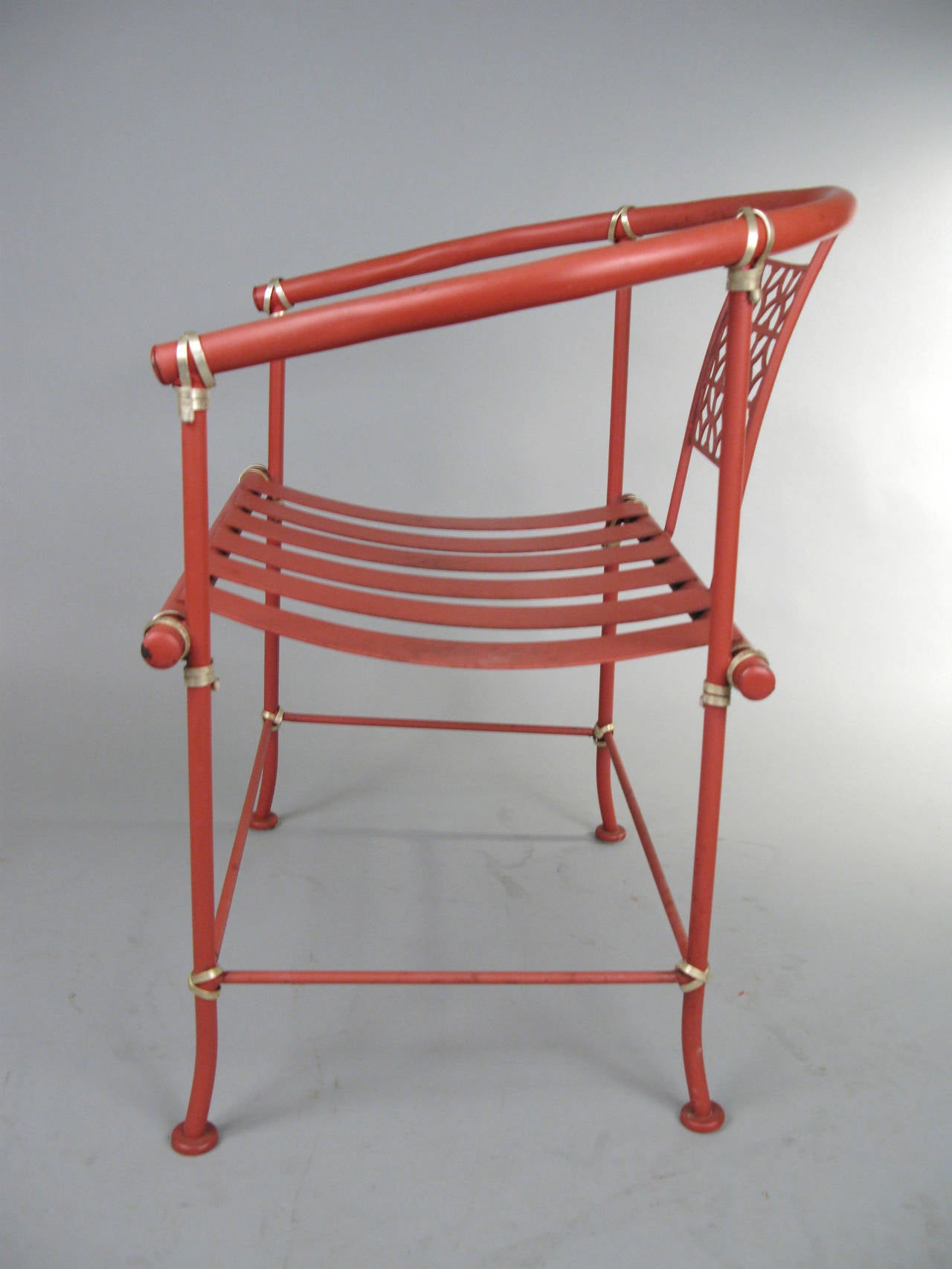 1960s Wrought Iron Garden Dining Set In Chinese Red At 1stdibs