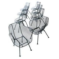 Set of 8 Vintage Woodard Sculptura Mesh Garden Chairs