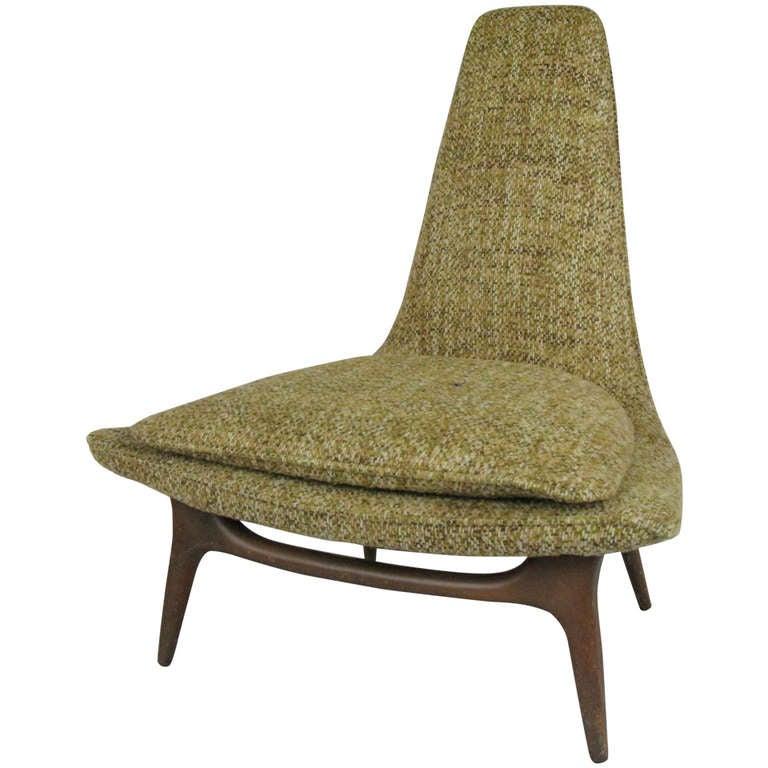 Vintage High Back Sculptural Lounge Chair by Karpen at 1stdibs