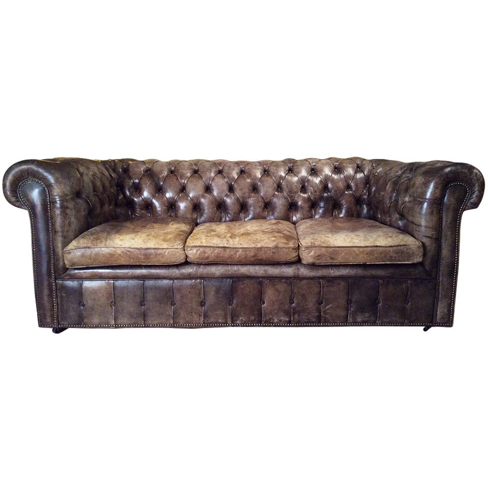 Vintage Tufted Leather Chesterfield Sofa At 1stdibs