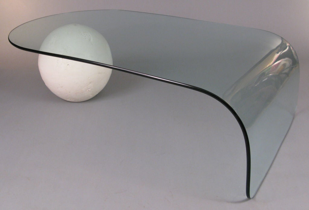 American Curved Glass & Full Moon Cocktail Table For Sale