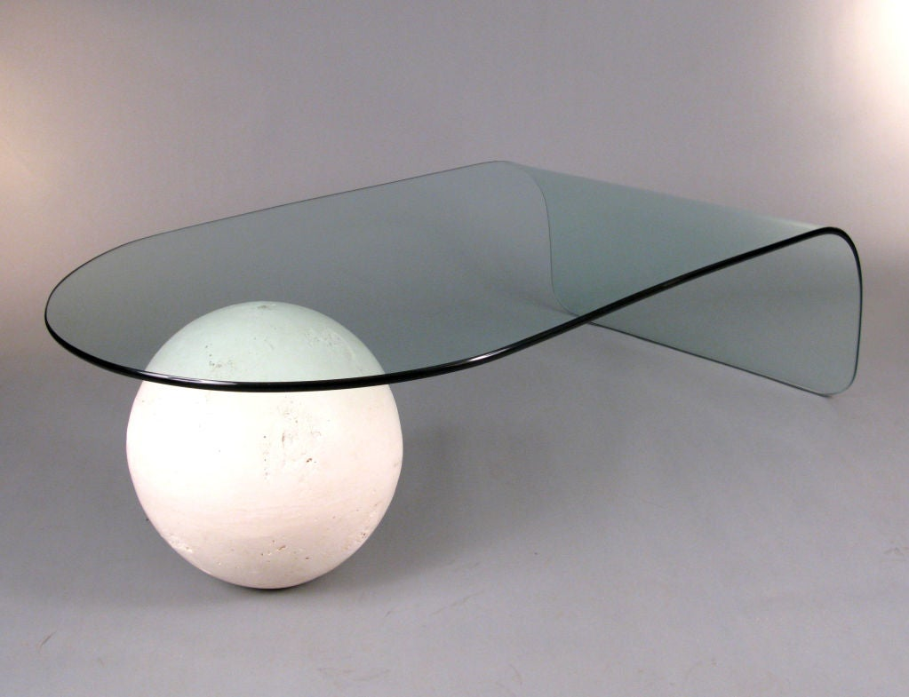 Curved Glass & Full Moon Cocktail Table For Sale 2