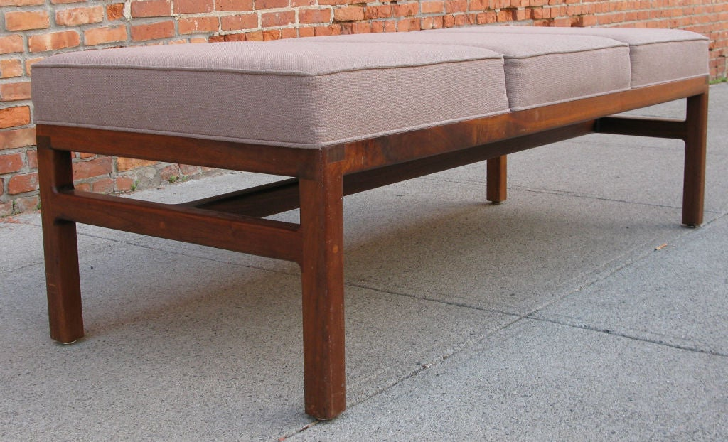Modern Walnut Base Upholstered Bench at 1stdibs