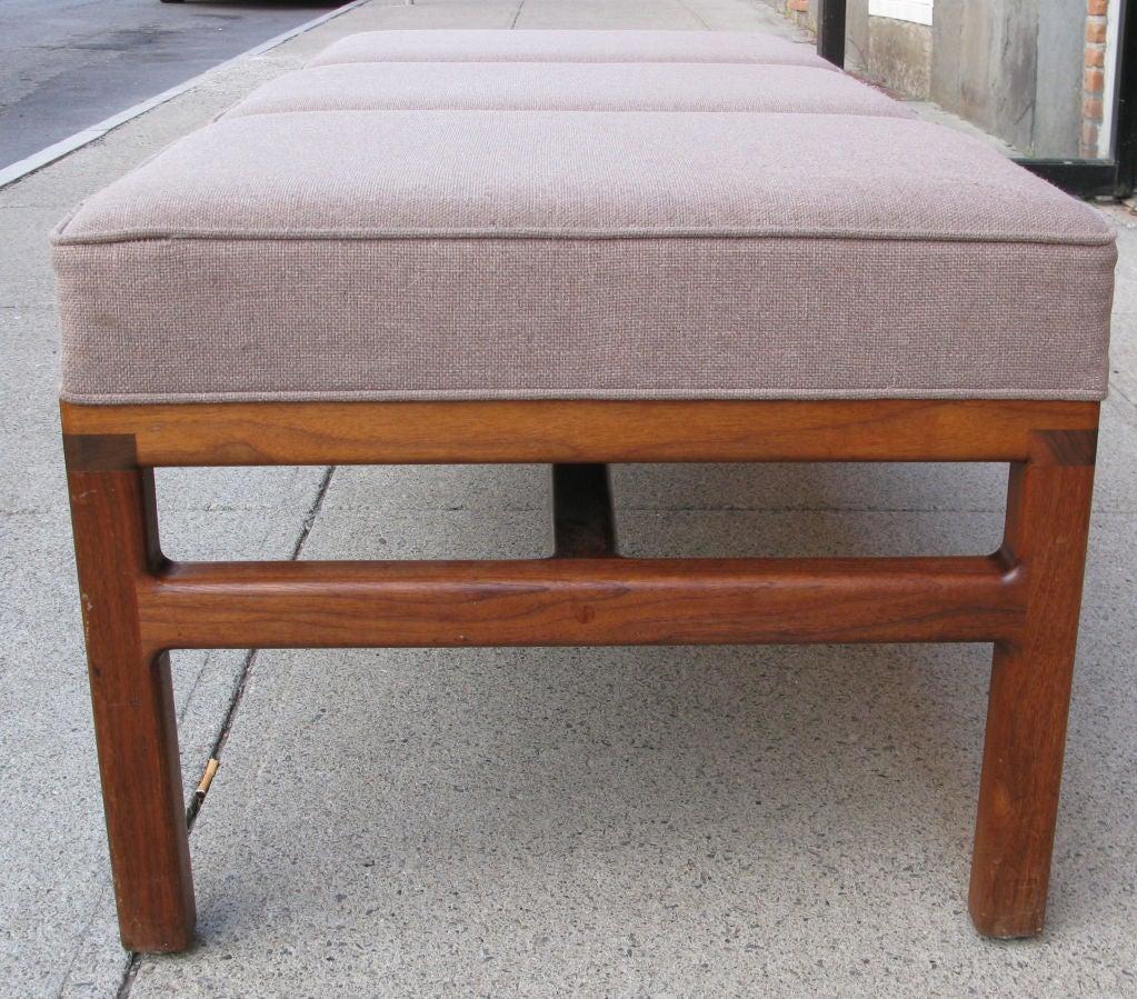 Modern Walnut Base Upholstered Bench At 1stdibs