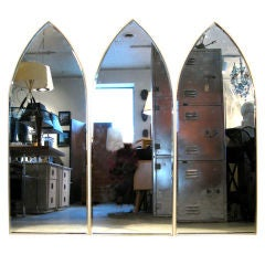 Set of Three Brass Frame Arch Mirrors