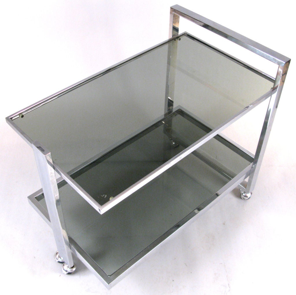Modern Chrome Rolling Bar Cart At 1stdibs