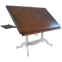Antique Adjustable Double Pedestal Cast Iron Drafting Table