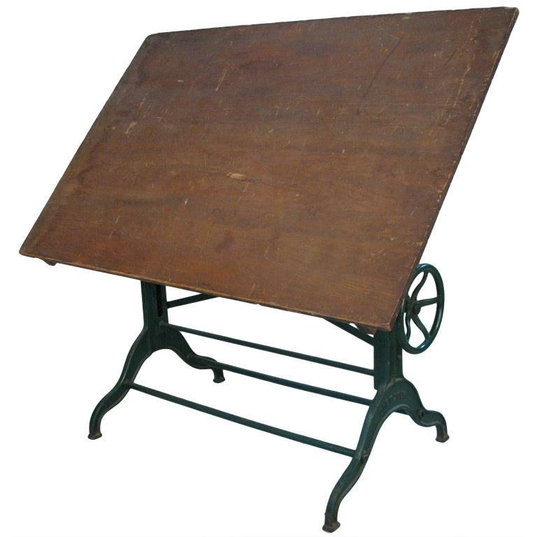 Antique Industrial Cast Iron Adjustable Drafting Table By Dietzgen At