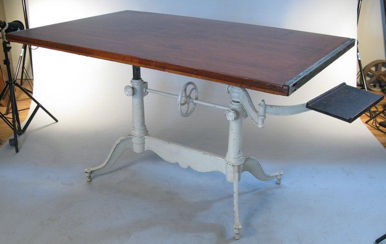 Antique Adjustable Double Pedestal Cast Iron Drafting