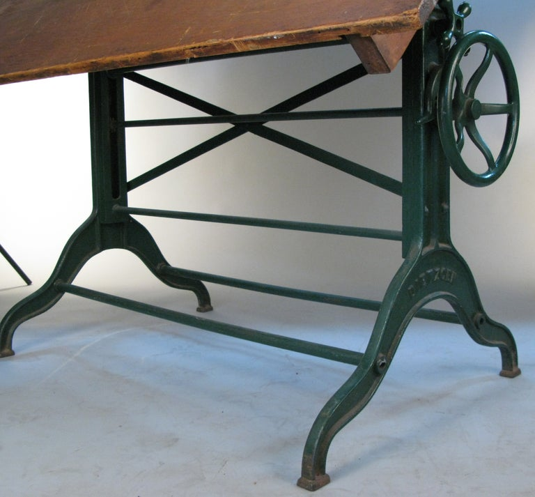 Antique Industrial Cast Iron Adjustable Drafting Table By Dietzgen 3