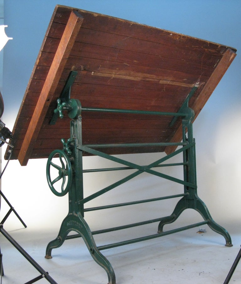 Antique Industrial Cast Iron Adjustable Drafting Table By