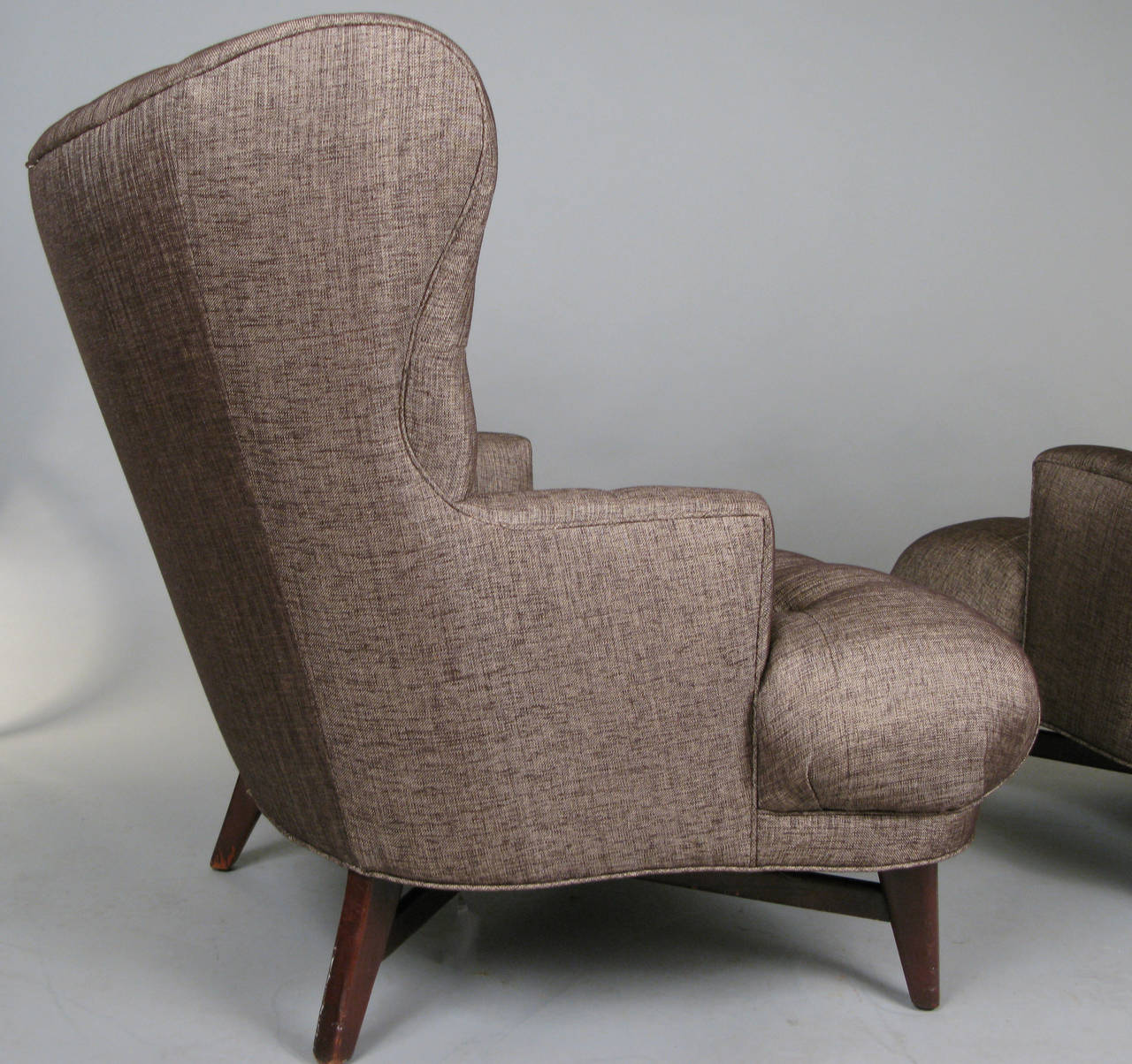 Pair Of Outstanding 1940s Tufted Lounge Chairs At 1stdibs