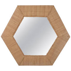 Modern Rattan and Bamboo Octagon Mirror by Raymor