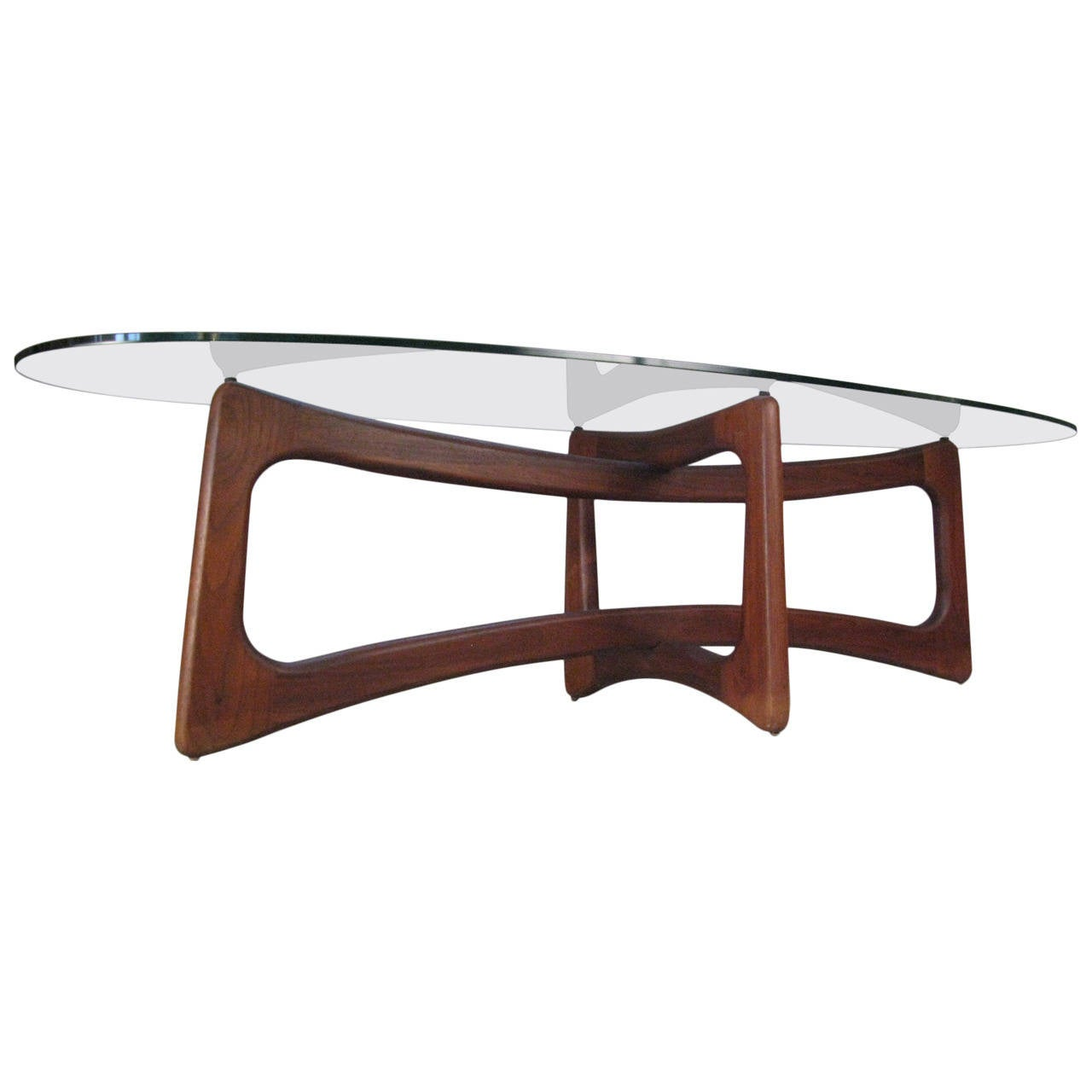 Sculptural Modern Walnut And Glass Table By Adrian Pearsall At 1stdibs